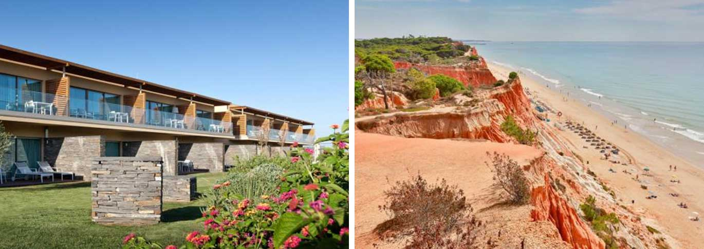 Exterior view of Epic Sana, and a shot of the nearby beach with overlooking cliff
