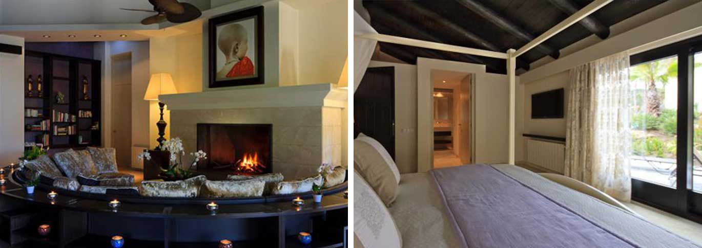 Shanti Som communal fireplace and bedroom with beamed ceiling.