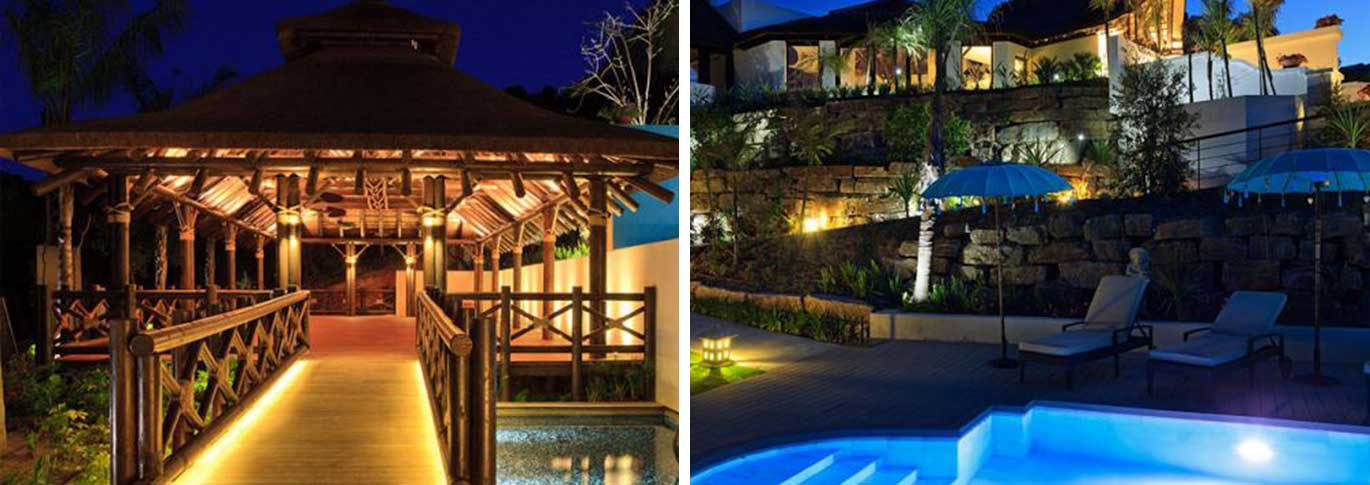 Yoga pavillion entrance and evening lighting by the swimming pool at Shanti Som